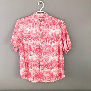 Men's Tommy Bahama Floral Shirt - Hot Pink&White L